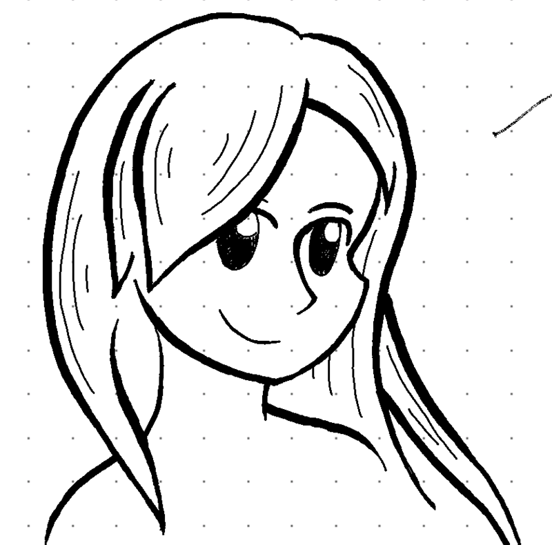 Anime-style drawing of a woman with long hair.