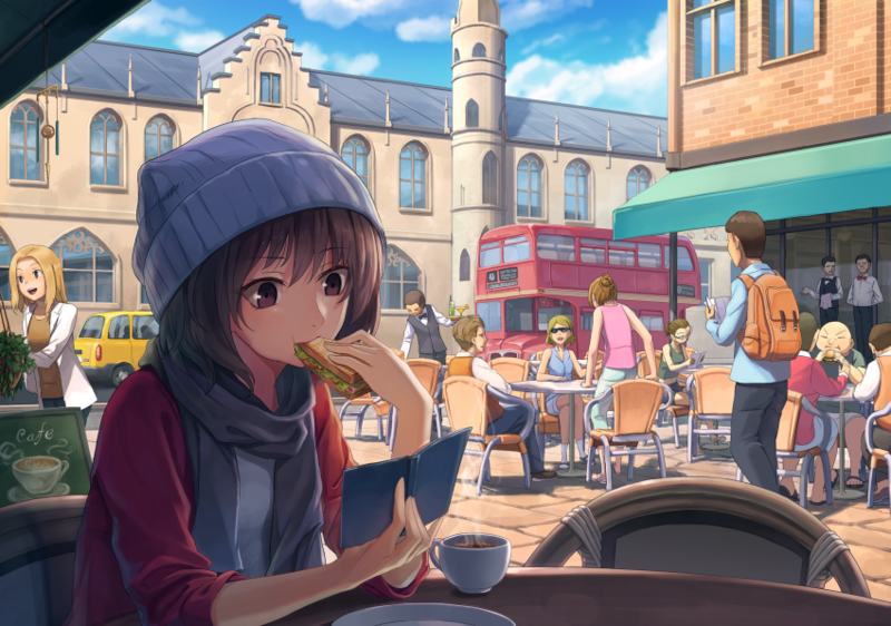 A large anime drawing of someone eating a sandwich while reading at a cafe outside.