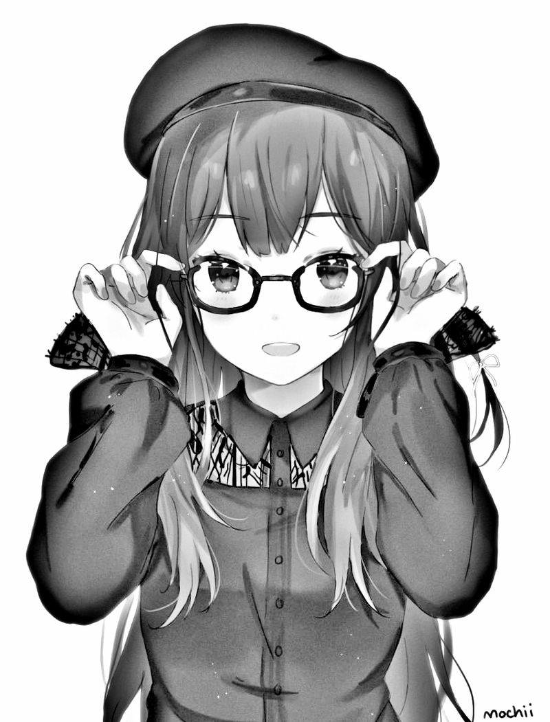 The same drawing of the girl with glasses, but without color and with more contrast.