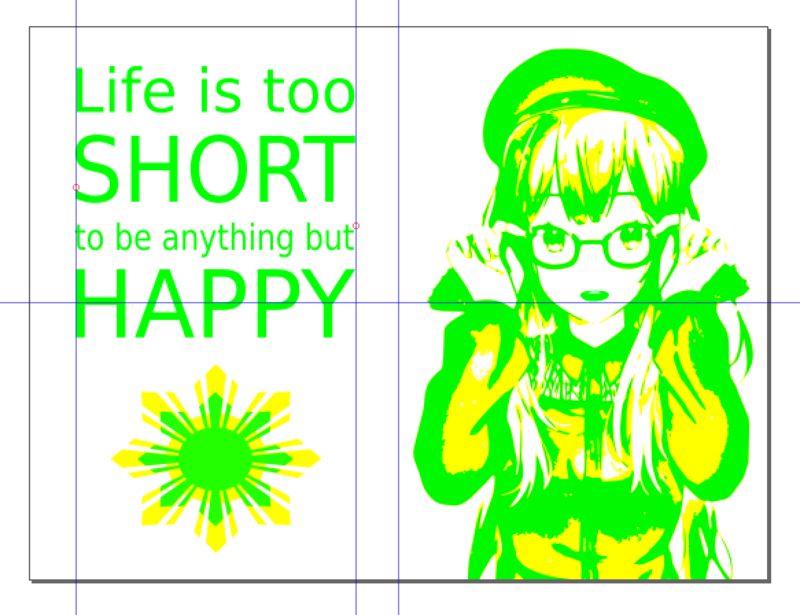 A digital canvas with a simplified version of the girl drawn with solid green and yellow color layers, next to a quote and image of a cartoon sun.