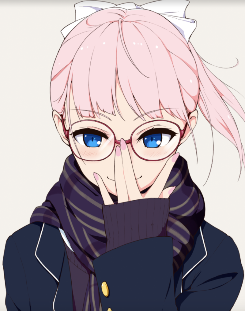 An anime drawing of a girl looking forward and adjusting her glasses.