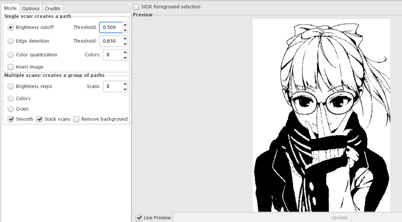 An Inkscape window for tracing the shadow image to a bitmap.