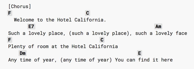 A chorus of Hotel California with different chords above the words.