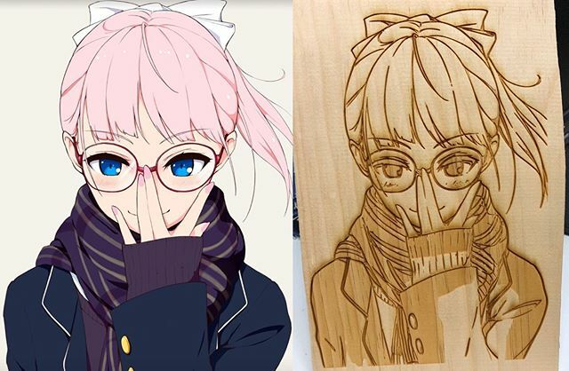 A laser-cut art version of an anime drawing of a girl with glasses.