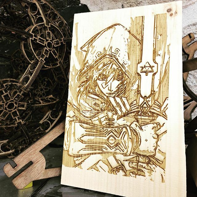 A laser-cut art version of Zelda from Breath of the Wild.