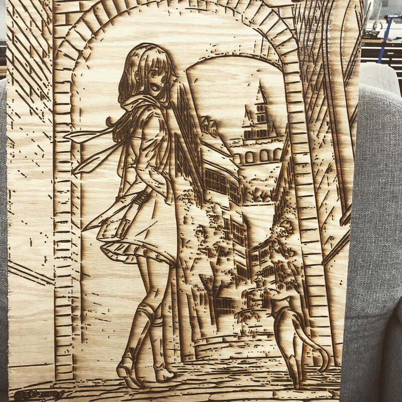A laser-cut art version of a girl walking with a cat through an Italian archway.